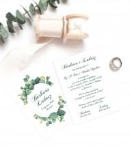 zaproszenie ślubne – greenery eukaliptus